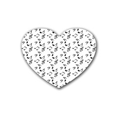 White Music Notes Rubber Coaster (heart)
