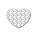 White Music Notes Rubber Coaster (Heart)  Front