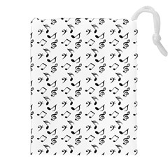 White Music Notes Drawstring Pouches (xxl) by snowwhitegirl