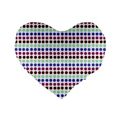 Multi White Dots Standard 16  Premium Flano Heart Shape Cushions by snowwhitegirl