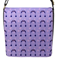 Winter Hat Snow Heart Lilac Blue Flap Messenger Bag (s) by snowwhitegirl