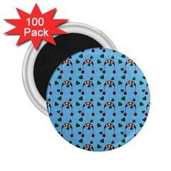 Winter Hat Red Green Hearts Snow Blue 2 25  Magnets (100 Pack)  by snowwhitegirl