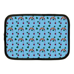 Winter Hat Red Green Hearts Snow Blue Netbook Case (medium)  by snowwhitegirl