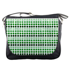 Greenish Dots Messenger Bags by snowwhitegirl