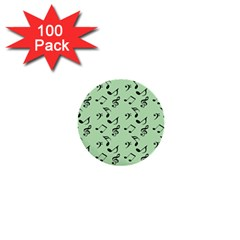 Mint Green Music 1  Mini Buttons (100 Pack)  by snowwhitegirl