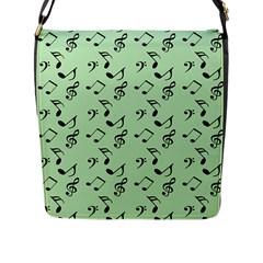 Mint Green Music Flap Messenger Bag (l)  by snowwhitegirl