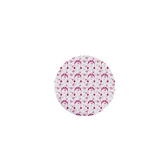 Winter Pink Hat White Heart Snow 1  Mini Magnets