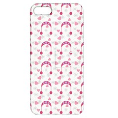 Winter Pink Hat White Heart Snow Apple Iphone 5 Hardshell Case With Stand by snowwhitegirl