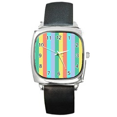 Summer Stripes Square Metal Watch