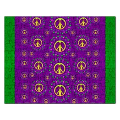 Peace Be With Us In Love And Understanding Rectangular Jigsaw Puzzl by pepitasart