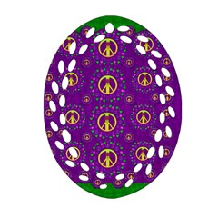 Peace Be With Us In Love And Understanding Oval Filigree Ornament (two Sides) by pepitasart