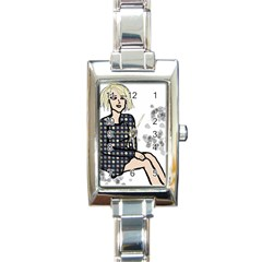 Girl Sitting Rectangle Italian Charm Watch by snowwhitegirl