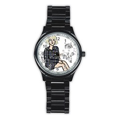 Girl Sitting Stainless Steel Round Watch by snowwhitegirl