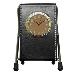 Brownish Pen Holder Desk Clocks by snowwhitegirl