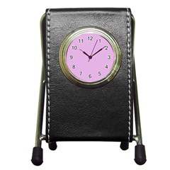 Pink Flowers Pen Holder Desk Clocks by snowwhitegirl