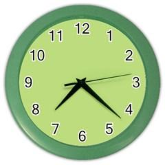 Grassy Green Color Wall Clocks by snowwhitegirl