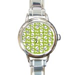 Skull Bone Mask Face White Green Round Italian Charm Watch Front