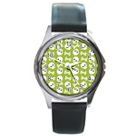 Skull Bone Mask Face White Green Round Metal Watch Front