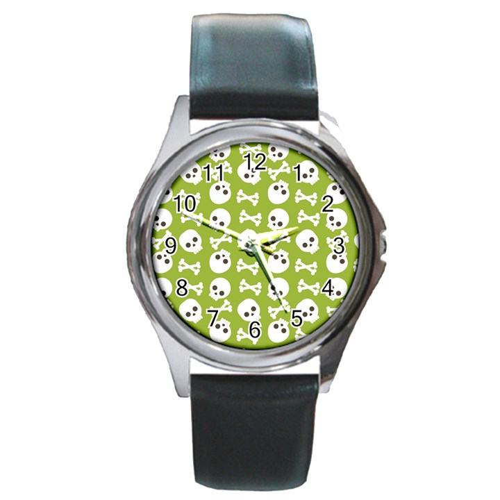 Skull Bone Mask Face White Green Round Metal Watch