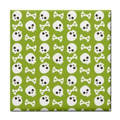 Skull Bone Mask Face White Green Tile Coasters