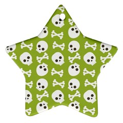 Skull Bone Mask Face White Green Ornament (star) by Alisyart