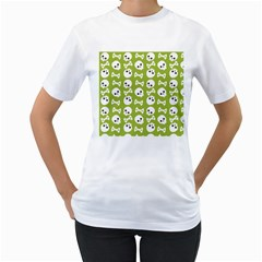 Skull Bone Mask Face White Green Women s T Shirt (white) (two Sided)