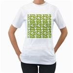 Skull Bone Mask Face White Green Women s T-Shirt (White) (Two Sided) Front