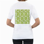Skull Bone Mask Face White Green Women s T-Shirt (White) (Two Sided) Back