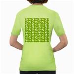 Skull Bone Mask Face White Green Women s Green T-Shirt Back