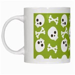 Skull Bone Mask Face White Green White Mugs Left