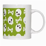 Skull Bone Mask Face White Green White Mugs Right