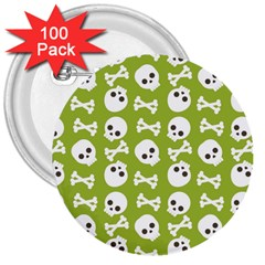 Skull Bone Mask Face White Green 3  Buttons (100 Pack)  by Alisyart