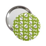 Skull Bone Mask Face White Green 2.25  Handbag Mirrors Front