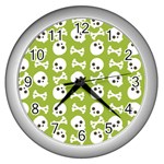 Skull Bone Mask Face White Green Wall Clocks (Silver)  Front