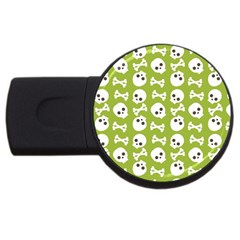 Skull Bone Mask Face White Green Usb Flash Drive Round (2 Gb) by Alisyart