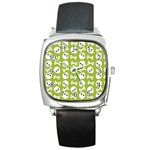 Skull Bone Mask Face White Green Square Metal Watch Front