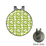 Skull Bone Mask Face White Green Hat Clips with Golf Markers Front