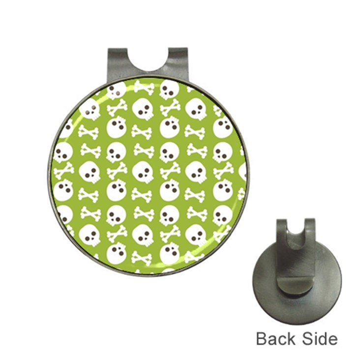 Skull Bone Mask Face White Green Hat Clips with Golf Markers