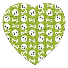 Skull Bone Mask Face White Green Jigsaw Puzzle (heart) by Alisyart
