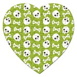 Skull Bone Mask Face White Green Jigsaw Puzzle (Heart) Front