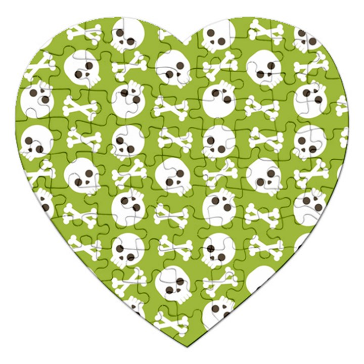 Skull Bone Mask Face White Green Jigsaw Puzzle (Heart)