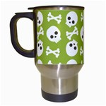 Skull Bone Mask Face White Green Travel Mugs (White) Left