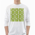 Skull Bone Mask Face White Green White Long Sleeve T-Shirts Front