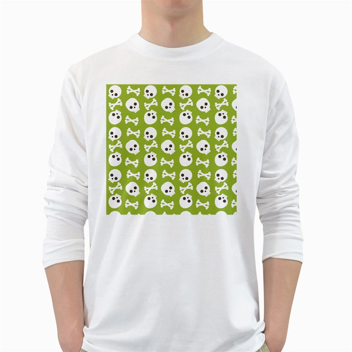 Skull Bone Mask Face White Green White Long Sleeve T-Shirts