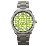Skull Bone Mask Face White Green Sport Metal Watch Front
