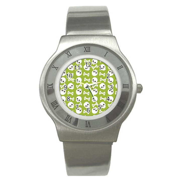 Skull Bone Mask Face White Green Stainless Steel Watch