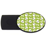 Skull Bone Mask Face White Green USB Flash Drive Oval (4 GB) Front