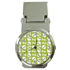 Skull Bone Mask Face White Green Money Clip Watches