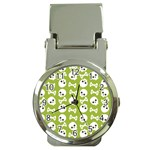 Skull Bone Mask Face White Green Money Clip Watches Front