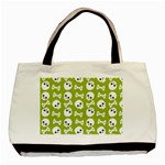 Skull Bone Mask Face White Green Basic Tote Bag Front